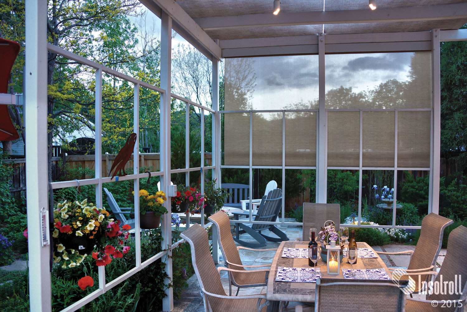 Insolroll patio shades powered by Lutron